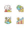 global warming rgb color icons set vector image