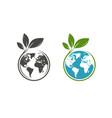 green leafs and globe logo eco natural organic vector image
