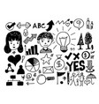 hand draw business doodles icon vector image