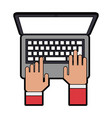 hands typing on laptop computer topview icon image vector image vector image