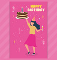 happy birthday woman with cake and drink vector image
