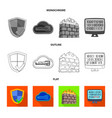 isolated object of virus and secure sign set of vector image