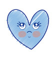 kawaii cute thinking heart design vector image vector image