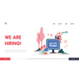 landing page with women and computers referring a vector image vector image