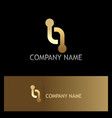 line dot technology connection gold logo vector image vector image