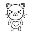 line happy cat cute feline animal vector image vector image