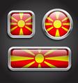 Macedonia flag glass buttons vector image