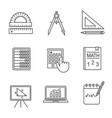 mathematics linear icons set vector image vector image