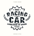 Racing car badge with texture vector image