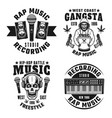 rap and hip-hop four monochrome emblems vector image vector image