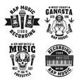 Rap and hip-hop four monochrome emblems