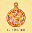 real pizza prosciutt on wooden board vector image vector image