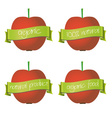red apples with organic and natural banners eps10 vector image vector image