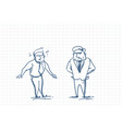 scared business man talking with angry boss doodle vector image vector image