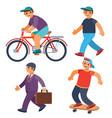 set men riding a bike walking skateboarding vector image vector image