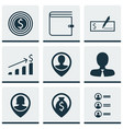 set of 9 hr icons includes manager successful vector image vector image