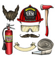 sketch fireman attributes vector image