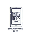 smartphone apps line icon concept smartphone apps vector image vector image