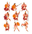 spartan warriors in golden armor and red cape set vector image
