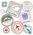 travel stamps set - austria vienna and alps vector image