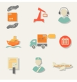 warehouse transportation and delivery icons flat vector image