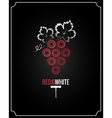 Wine grapes red and white on black background vector image