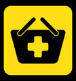 yellow black sign - shopping basket plus icon vector image vector image