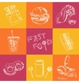 Fast Food Set Sketches Vintage for vector image