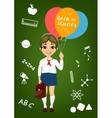 schoolgirl holding balloons with back to school vector image