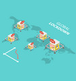 3d isometric concept global markets vector image