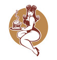 beauty plus size pinup girl with gigantic tasty vector image vector image