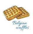 Belgian waffles sketch icon Patisserie emblem vector image