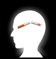 broken cigarette inside the human head vector image