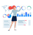 business women explain present statistics chart vector image