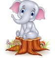 Cartoon funny baby elephant sitting on tree stump vector image vector image