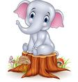 cartoon funny baby elephant sitting on tree stump