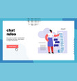 chat rules website landing page vector image