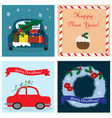 christmas collection with four cards eps vector image vector image