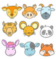 collection cute animal design doodle style vector image vector image