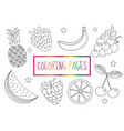 coloring book page fruit set sketch doodle vector image vector image