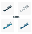 comb icon set four elements in diferent styles vector image vector image