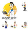 computer expert mascot symbol vector image