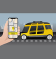 control of autonomous taxi by mobile app vector image vector image