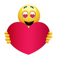 cute smiley emoji being in love smiley holding vector image