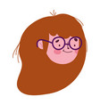 cute young woman face cartoon isolated icon on vector image vector image