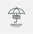 deposit protection logo umbrella with money icon vector image