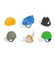 different helmet icon set isometric style vector image vector image