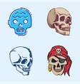 different style skulls faces halloween horror vector image vector image