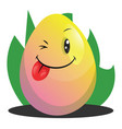 easter egg winking and smiling web on a white vector image vector image