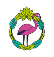 exotic flamingo bird leaves tropical vector image vector image